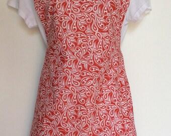 Handmade ladies red white and black paisley full apron