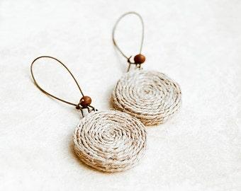 Hemp unique earrings, rustic jewelry, eco friendly jewelry