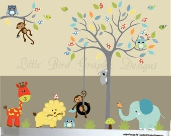 Grey tree jungle animals with elephant giraffe lion monkeys owls birds decal