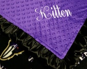 Personalized Baltimore Ravens Football Minky and Fleece Baby Blanket