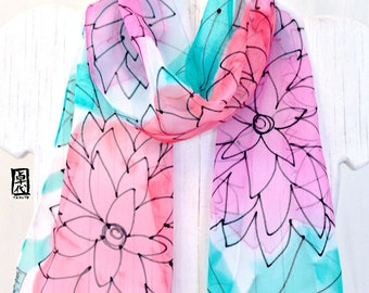 Hand Painted Silk Scarf, Pink and Mint Floral Scarf, Small Summer Scarf, Silk Chiffon Scarf. Silk Scarves Takuyo,  7x50 inches,