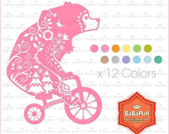 12 Colors Bear Clipart. Birthday Card, Paper Cut DIY Handmade Crafts Projects. Personal and Small Commercial Use. BP 0936