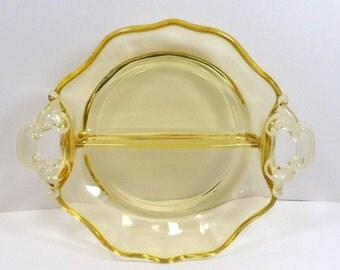 Sale Candy Dish Yellow Glass Serving Bowl Cambridge 2 Part Serving Bowl Vintage 1940s Elegant Glass