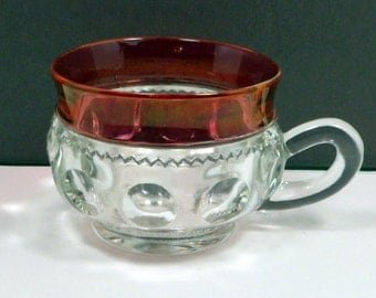 Sale Glass Tea Cup Ruby Flashed Indiana Kings Crown 6 oz  Vintage 1960s Mid Century