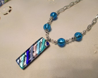 Venetian Bead Pendant Necklace in Vibrant Shades of Blue and Silver