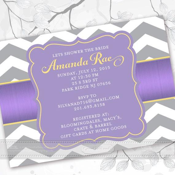 bridal shower invitations, lavendar bridal shower invitations, chevron bridal shower invitations, lavendar graduation announcement, IN369