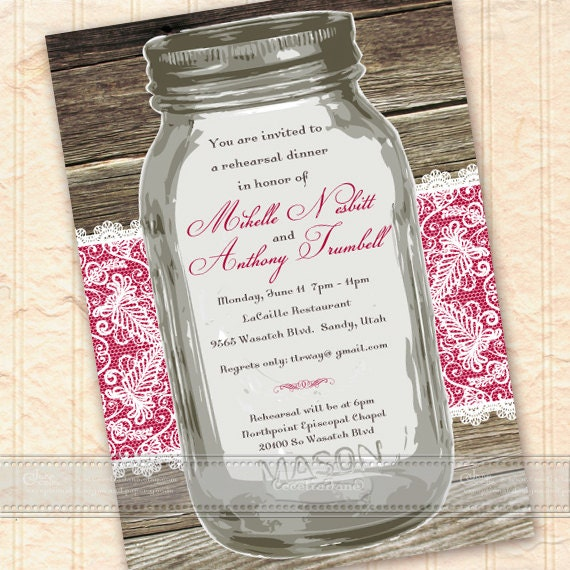 wedding invitations, bridal shower invitations, mason jar bridal shower invitations, mason jar rehearsal dinner, neighborhood potluck, IN297
