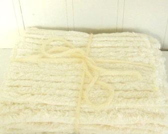 Chenille Fabric Scraps - Ivory Cream - 100% Cotton - Bundle