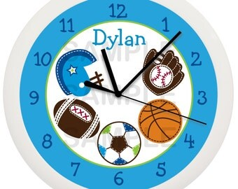 Sports Personalized Nursery Wall Clock