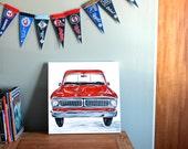 "red truck art. 18""x18"" original canvas art. READY to SHIP. bedroom decor. pick up truck, boys truck art, vintage, classic. modern art SALE"