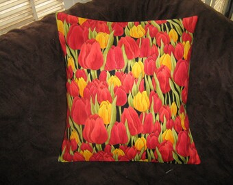 "METALLIC TULIPS Pillow COVER For a 16"" Insert Rare Out of Print Andover"