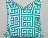 OUTDOOR Pillow Geometric Towers Teal & White Deck Patio Pillow Cover Teal Greek Key 18x18
