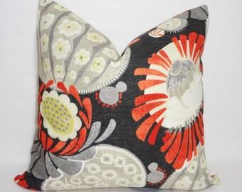 Decorative Waverly Copacabana Orange Charcoal Grey Floral Pillow Cover Orange Flower Throw Pillow 12x18 18x18