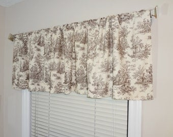 Curtain Valance Topper Window Valance 52x15 Brown/Natural Jamestown Toile Print Valance