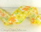 "Wired Ribbon, 1 1/2"",  Yellow, Orange, Green Floral  Print Satin - SIX & 2/3 YARDS -  ""Garden Party"" #60701 Spring Craft Wire Edged Ribbon"