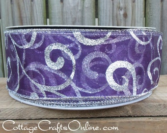 "Christmas Wired Ribbon, 2 1/2"" wide,  Purple Sheer Silver Glitter Swirl -  THREE YARDS -  ""Purple Swirl"" Craft Wire Edged Ribbon"