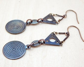 Geometric dangle earrings - long copper earrings - metal triangle and circle earrings
