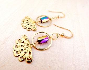 Golden peacock fan earrings // gold dangle earrings // rainbow hematite