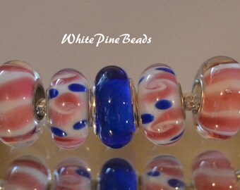 Blue  and Pink Murano Glass Lampwork Beads  5 PC Set    fits European  Charm Bracelets WhitePineBeads