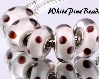 Murano Glass Bead White with Brown Dots European Style Charm Bracelets