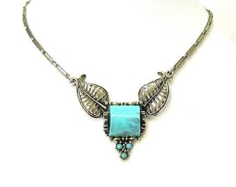 Vintage Bib Necklace silver box clasp faux turquoise 1970's Excellent