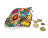 Fabric Coin Purse - Framed Clutch Purse - Silver Frame - Large coin purse