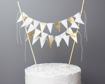 White and Gold Wedding Cake Topper Banner, Gold and White Party Decoration, Unique Wedding Cake, 50th Golden Anniversary Cake Centerpiece