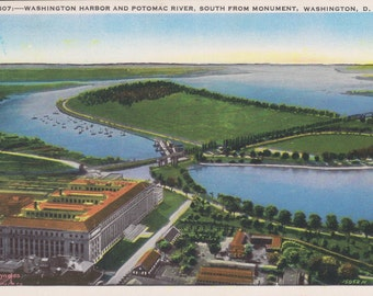 Washington D.C., Washington Harbor, Potomac River - Linen Postcard - Unused (VV)