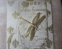 Gold Plated Brass Dragonfly Stamping No Holes Or Rings 1Pc.