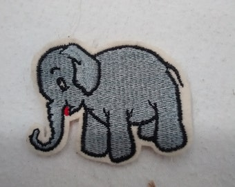 Vintage Baby Elephant Jacket or Hat Patch , Wool Embroidered ,  Gray