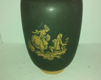 Mid Century Hyalyn 256 Vase . Gold On Black , Victorian Old English Decoration