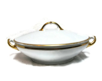 reduced Bavaria Heinrich and Co, Antique Gilt Covered Vegetable Dish