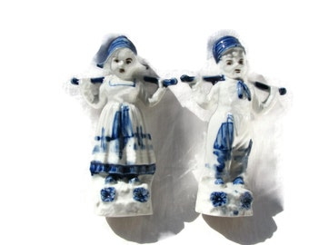 German Delft Type Figurines Boy And Girl