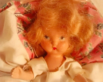 Vintage Kerr and Hahn doll , miniature , storybook doll , Nancy Ann Style , pink dress