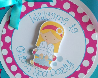 Spa Birthday Party Personalized Welcome Door Sign in Pink and Blue - Spa Party Decorations - Spa Door Hanger