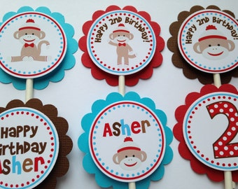 12 Sock Monkey Birthday Party Cupcake Toppers in Red, Brown and Aqua