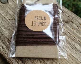 10 Yards - Solid  Baker's  Twine / String • 100% Cotton • Eco Friendly • Gift Wrap • Bakery String • Brown