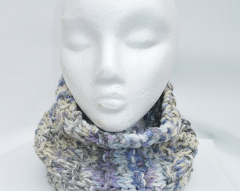 Childs knitted cowl purple, grey blue mix yarn.