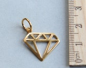 SALE, 24K gold plated sterling silver charm, Diamond Charm, Gold plated Diamond Charm, Tattoo Charm, Outline Diamond Charm, 19mm ( 1 piece )
