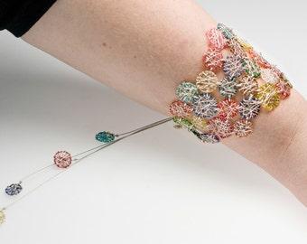 Modern bracelet necklace. Contemporary bracelet. Wearable art jewelry. Modern bangle. Sculptural jewelry. Geometric bracelet.Unique bracelet
