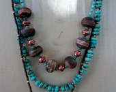 3 Strand Turquoise, Etched Agate and Copper necklace and earrings