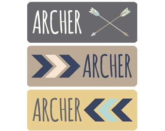 FAST SHIPPING! Boy Name Labels, Daycare Labels, School Labels, Waterproof Name Labels, Dishwasher Safe, School Name Labels, Tribal Arrows