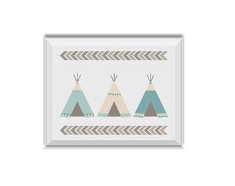 Teepee, Teepee Art, Tee Pee, Tribal Decor, Nursery Art, Children's Room Art, Teepee, Chevron, Mint, Teal, Tribal