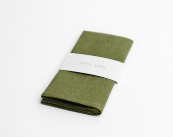 Moss green pocket square, mens handkerchief