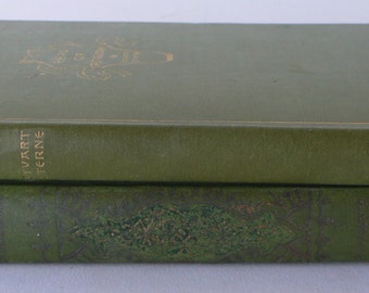 Antique books, 2 volumes, light green, book decor from Diz Has Neat Stuff
