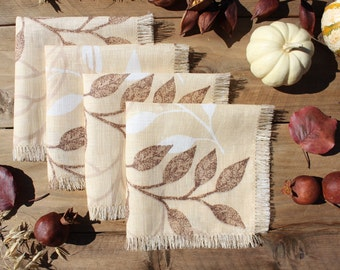 """Printed Linen Napkin """"Autumn Leafs"""". Fall Thanksgiving Colors. Rustic Style. Set of 4 Small. Limited Edition. OOAK. Ready to Ship"""