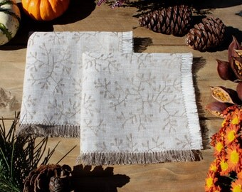 """Linen Jacquard Napkins """"Branches"""". Rustic Style. Set of 2 Small. Limited Edition. Ready to Ship"""