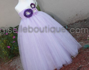 Reserved listing for Dre:   Shimmer Lavender Flowers TuTu Dress with Handmade Flowers with basket and slip