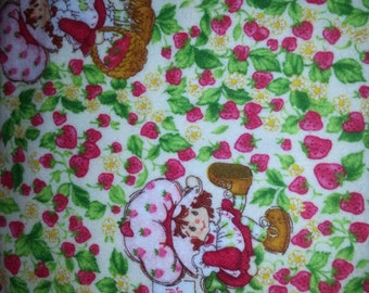 Sale Strawberry Shortcake Flannel strawberry field with character OOP 1 yard cotton Flannel  fabric
