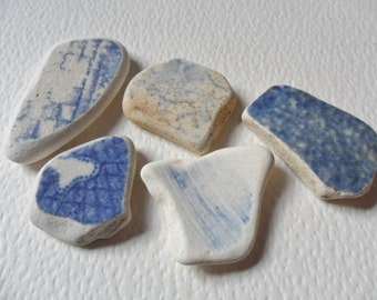 5 blue & cream English sea pottery - Lovely beach find pieces